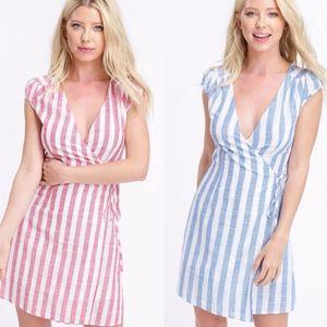 LORI Striped Wrap Dress - 2 colors